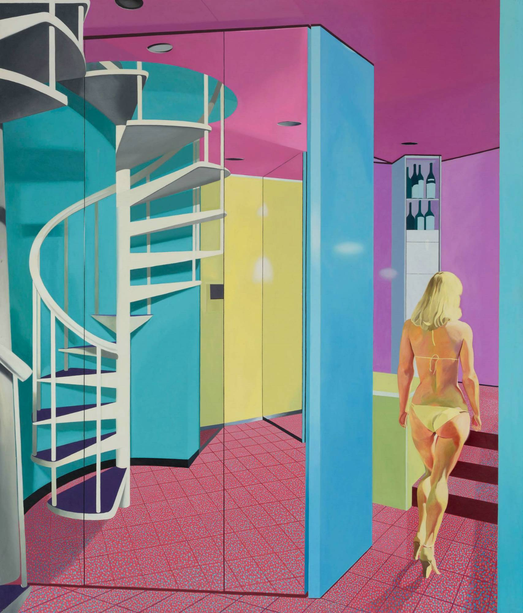 Mirrored Optical Staircase and Nude Woman 1983