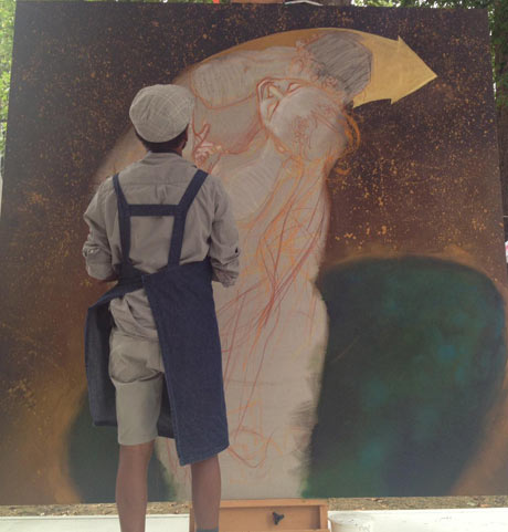 Mode 2 at work as part of 001 Kiss and tell: street artists imitate Gustav Klimts erotic art