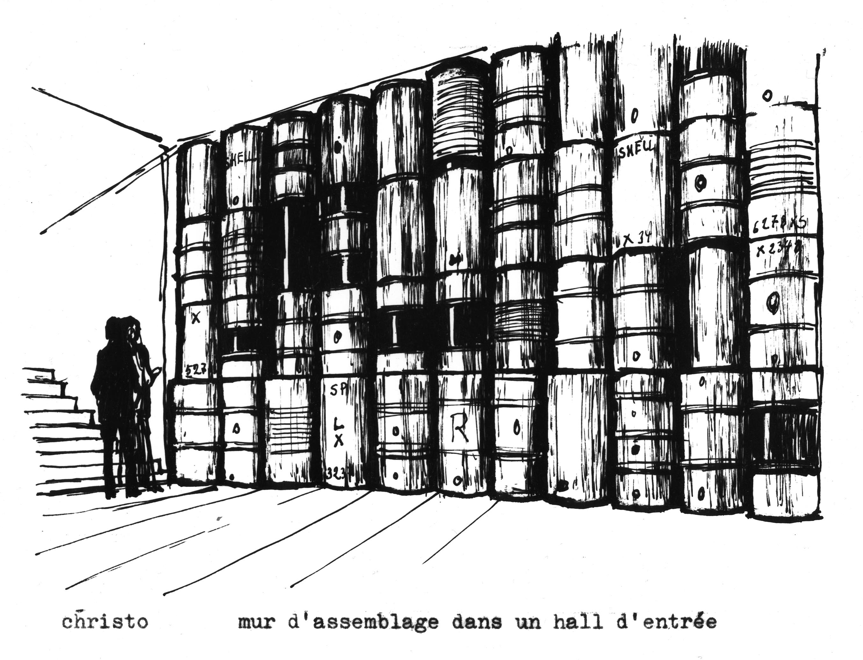Mur d\'assemblage dans un halle d\'entre? Drawing 1962- 15 x 17.5 cm ...