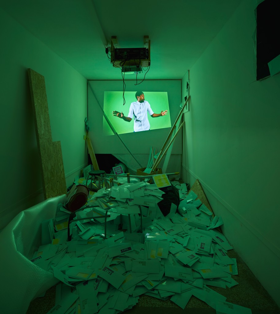 Nástio Mosquito at Oratorio di San Ludovico, Venice 2015, Installation photograph of 'Demo da Cracía' 2013, Video, courtesy the artist and Ikon. Photo by Giulio Favotto