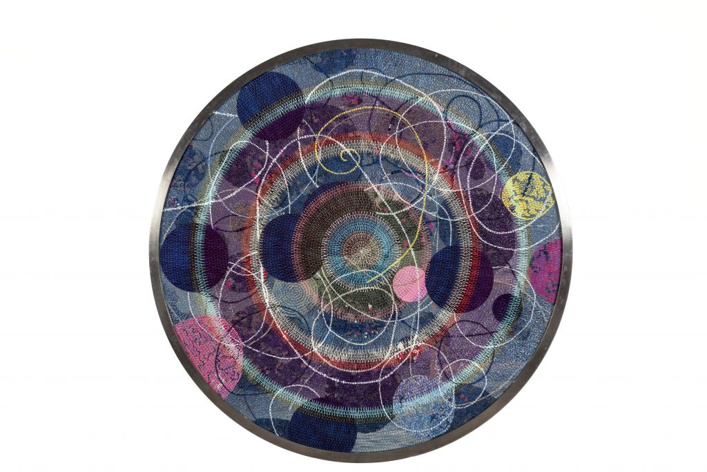 Bharti Kher Untitled, 2019 Bindis on mirror  Diameter: 182.9 cm  Courtesy of the artist and Nature Mort