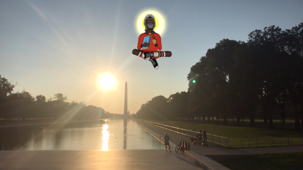 Nina Chanel Abney, Imaginary Friend in Washington D.C., 2020, augmented reality. Courtesy Nina Chanel Abney and Acute Art. Photo Leigh Vogel FAD magazine