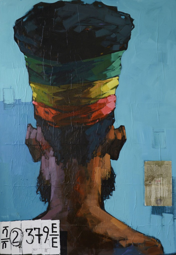 Dalit Abebe No.2 Background 36, 2016, acrylic and collage on canvas, 200 x 140 cm