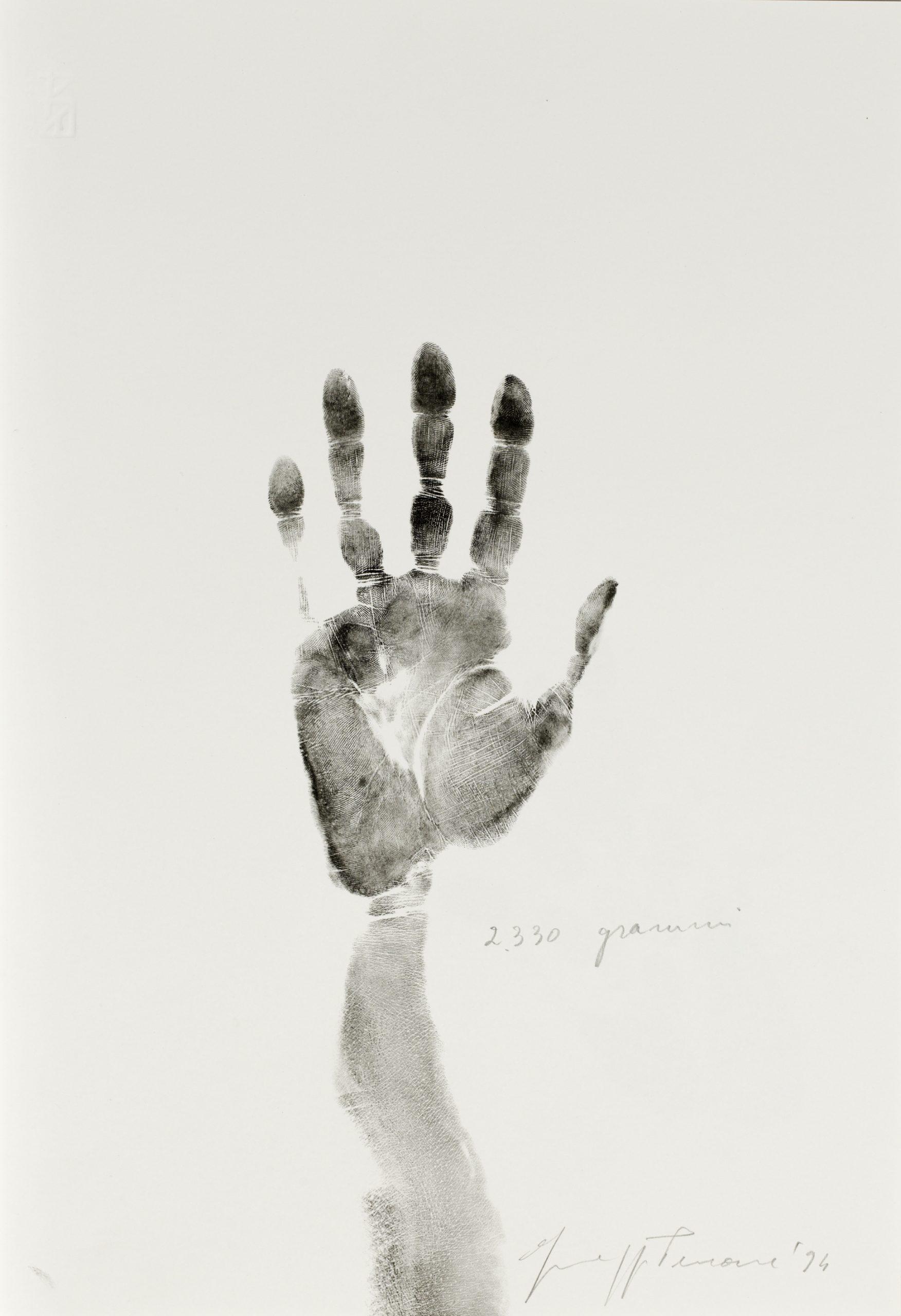 FAD MAGAZINE 2330 grammi, 1994. Giuseppe Penone. Typographic ink and pencil on paper © Archivio Penone © Centre Pompidou, MNAM-CCI /Dist. RMN-GP