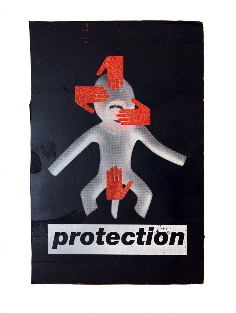 PROTECTION1 black and white screen print on cardboard with red glitter hands