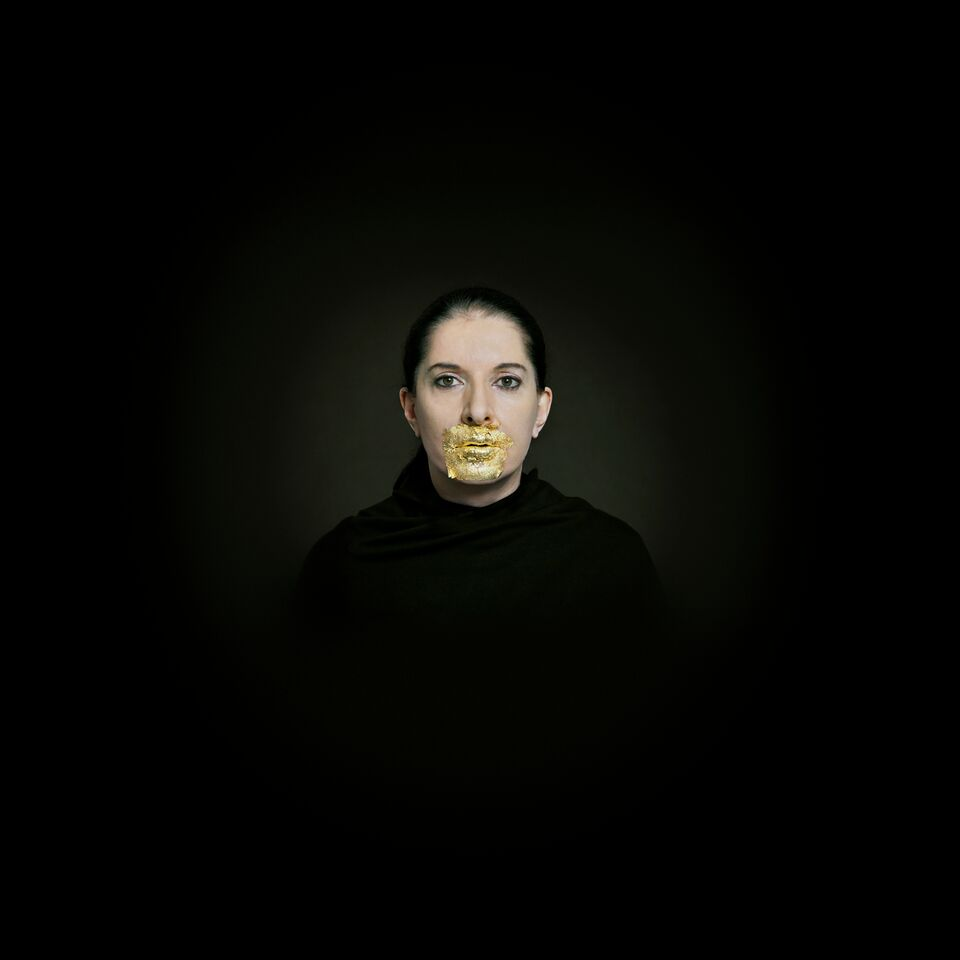 arina  Abramovic  Portrait  with  Golden  Lips.  Fine  art  pigment  print  with  24-karat  gold  leaf,  2009  ©  Marina  Abramovic.  Courtesy  of  the  Marina  Abramovic  Archives