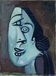 Pablo Picasso, Head of Women, 1953, Signed Picasso and dated 25 June 53 (upper right), Oil on canvas, 33 x 24 cm