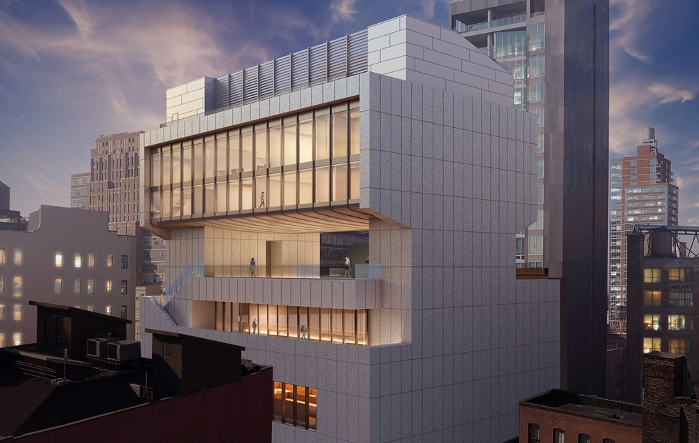 Architectural rendering of the south east façade of 540 West 25th Street, New York. Image courtesy of Bonetti /Kozerski Architecture.