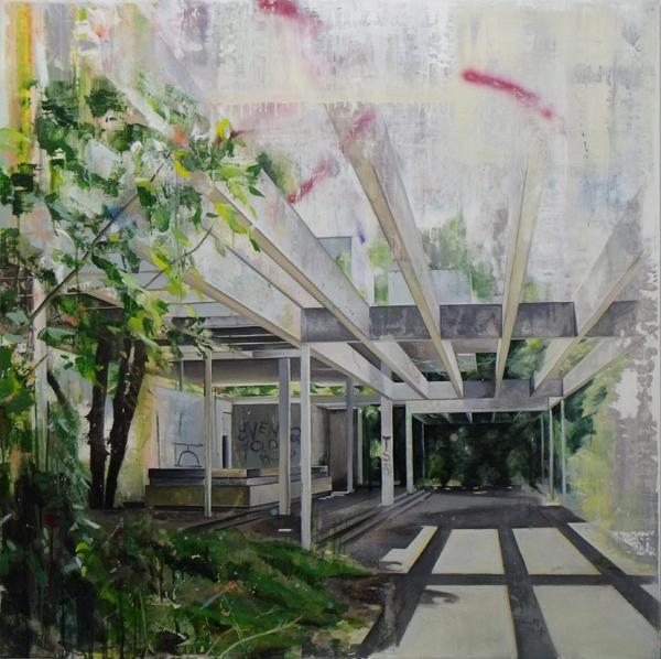 Pavillion-interior-122-x-122-cm-Oil-oil-stick-and-spray-paint-on-board-20141