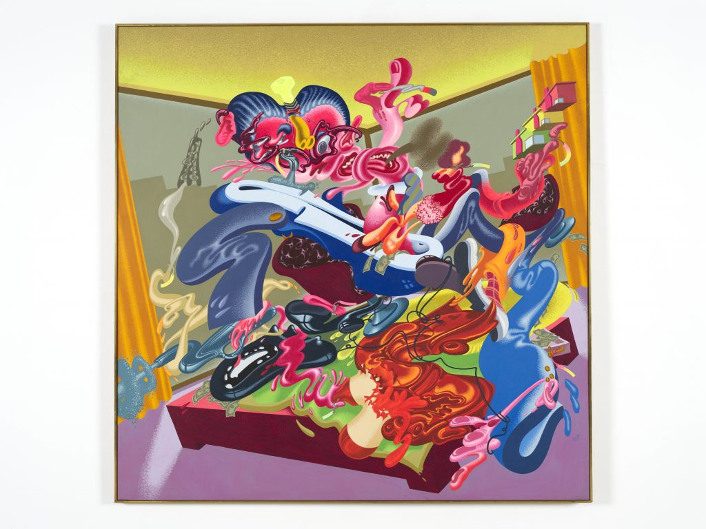 Peter Saul, Businessman / Young Executive, 1980. Oil and acrylic on canvas, 78 1/2 x 77 3/4 in (199.4 x 197.5 cm). Collection KAWS. Photo: Farzad Owrang FAD MAGAZINE