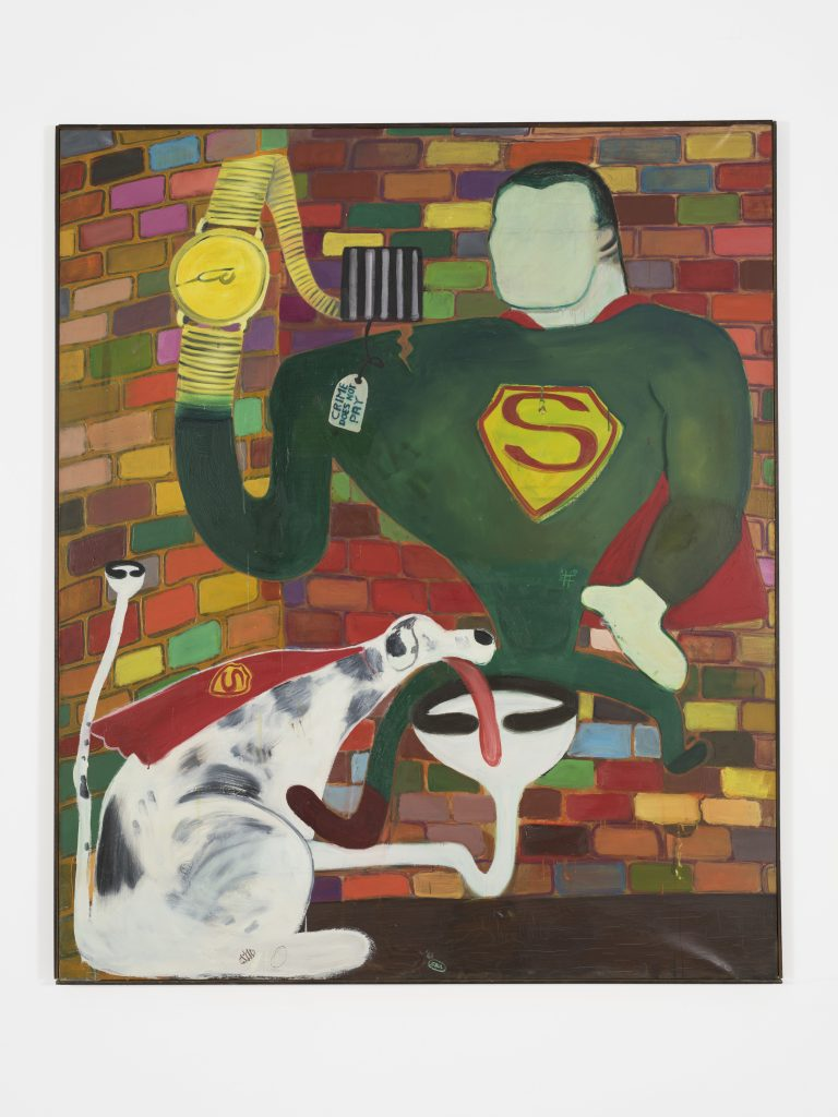 Peter Saul, Superman and Superdog in Jail, 1963. Oil on canvas, 75 x 63 in (190.5 x 160 cm). Collection KAWS. Photo: Farzad Owrang FAD MAGAZINE