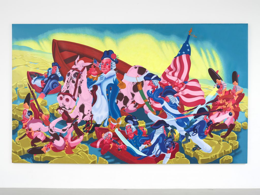 eter Saul, Washington Crossing the Delaware, 1975. Oil on canvas, 89 x 150 1/2 in (226.1 x 382.3 cm). Collection KAWS. Photo: Farzad Owrang FAD MAGAZINE