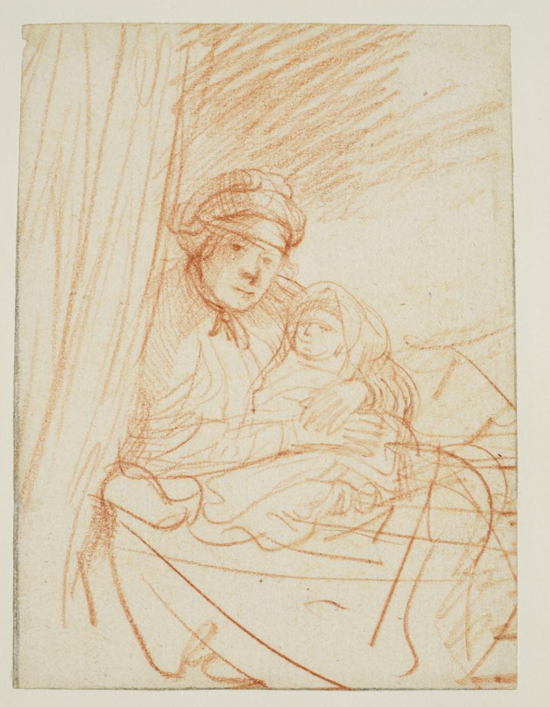 Rembrandt Harmensz van Rijn, Saskia Sitting Up In A Bed, Holding a Child (1640), chalk on paper, 10.6 x 14.1 cm. The Courtauld Gallery. © The Samuel Courtauld Trust, The Courtauld Gallery, London. FAD MAGAZINE