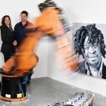Rob and Nick Carter portrait with Yinka Shonibare Robot Painting