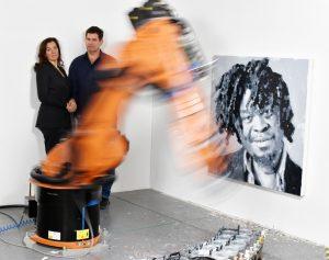 Rob and Nick Carter portrait with Yinka Shonibare Robot Painting