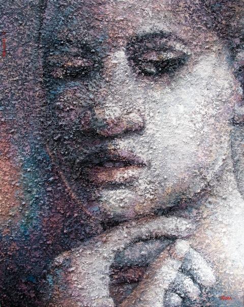 Rom Isichei - Basking in senscious regard, 2014, mixed media on canvas, 48x60 inch