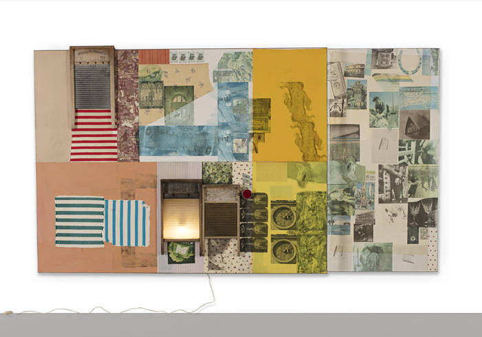 Palladian  Xmas (Spread), 1980  Solvent transfer, acrylic and collage on wooden panel with mirror and electric light  188,6 x 339,7 x 19,1 cm (74,25 x 133,75 x 7,5 in)   © Robert Rauschenberg/DACS - Photo: Glenn Steigelman, 2018 Courtesy Galerie Thaddaeus Ropac, London/Paris/Salzburg