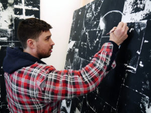 Rory Biddulph preparing for XL Catlin Art Prize in his studio
