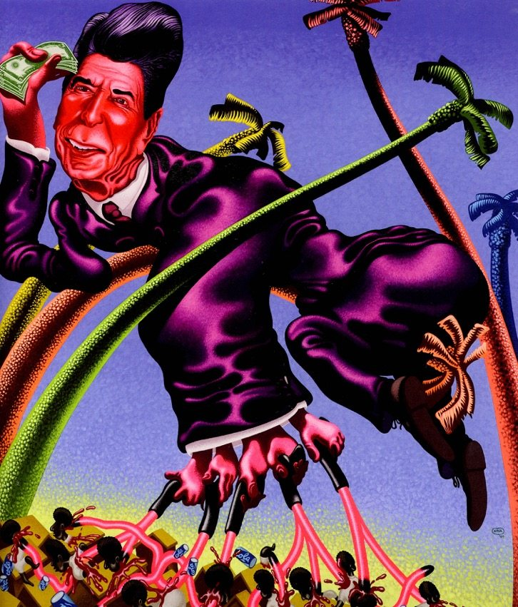 Peter Saul, Ronald Reagan in Grenada, 1984, 210 x 180 cm, Acrylic on canvas, Hall Collection, © Peter Saul, Courtesy Hall Art Foundation, Photo: Jeffrey Nintzel