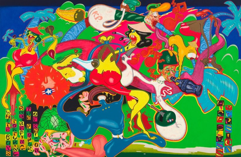 Peter Saul, Saigon, 1967, Acrylic, oil, enamel, and ink on canvas, 236,9 x 361,3 cm, Whitney Museum of American Art, © Peter Saul, Photo: Sheldon C. Collins