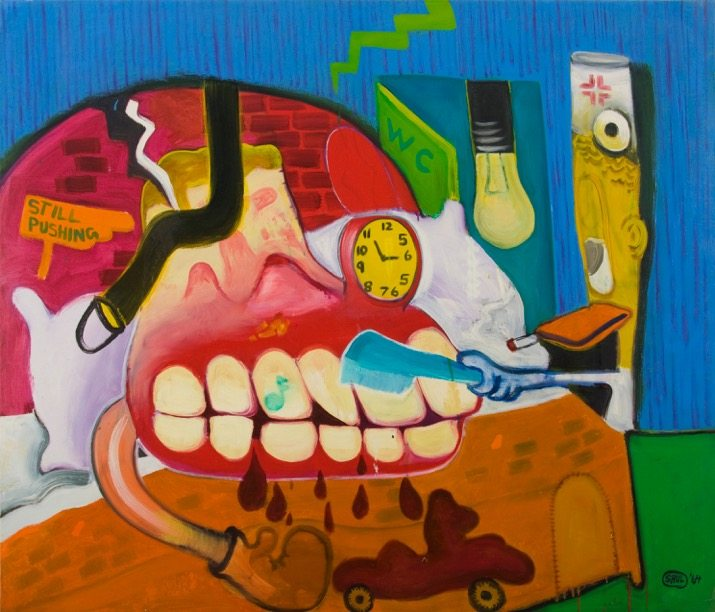 Peter Saul, Sickroom, 1964, Oil on canvas, 128,3 x 149,8 cm, Collection of the artist Peter Saul, © Peter Saul, Courtesy Mary Boone Gallery, New York