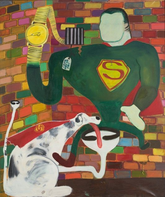 Peter Saul, Superman and Superdog in Jail, 1963, Oil on canvas, 190,5 x 160 cm, Collection of KAWS, © Peter Saul, Photo: Farzad Owrang