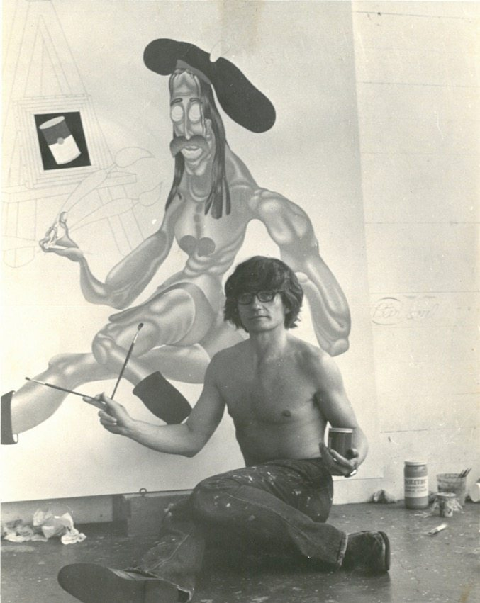 Peter Saul in his studio in Mill Valley, California, 1974, B/w Photograph, 25,2 x 20,4 cm, © Peter Saul, Collection of the artist
