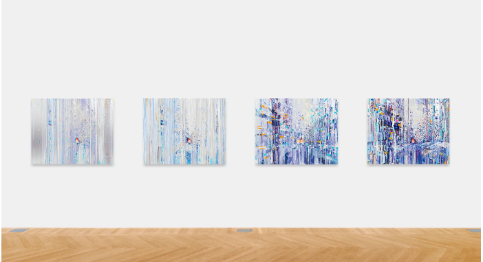 Quartet (Mondrian suite), 2019 Oil paint, acrylic paint, acrylic polymers, ink, aluminum, archival paper, graphite, diabond and wood, in four parts. Each: 40 x 50 inches (101.6 x 127 cm) © Sarah Sze Courtesy Gagosian