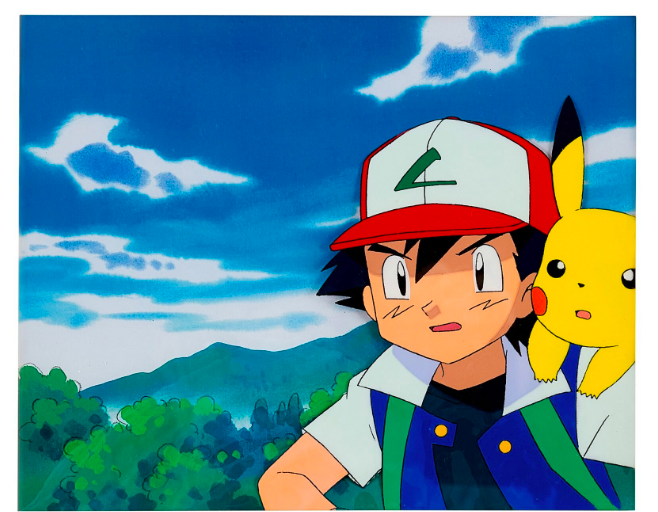 FAD MAGAZINE Pokemon by OLM Inc. SATOSHI AND PIKACHU ANIMATION CEL