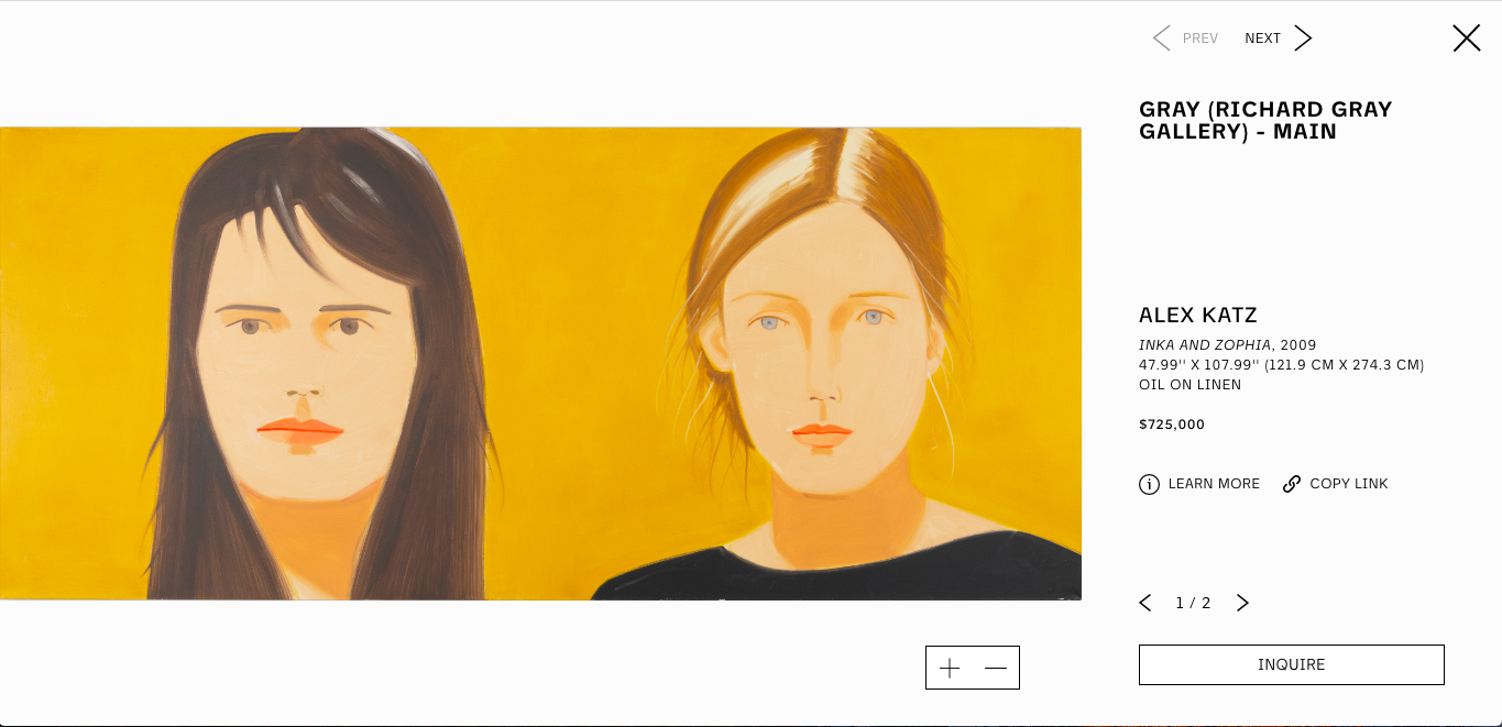 ALEX KATZ INKA AND ZOPHIA, 2009 47.99'' X 107.99'' (121.9 CM X 274.3 CM) OIL ON LINEN $725,000 FAD MAGAZINE
