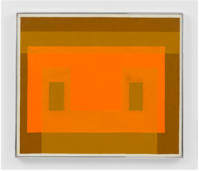 JOSEF ALBERS VARIANT: ORANGE FAÇADE, 1959 23.39'' X 26.38'' (59.4 CM X 67 CM) OIL ON MASONITE $650,000 FAD MAGAZINE
