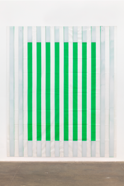 DANIEL BUREN PHOTO SOUVENIR: PAINT ON/UNDER PLEXIGLAS ON SERIGRAPHY, FRAMING NO. 1 GREEN, SITUATED WORK, 2013 98.43'' X 82.68'' (250 CM X 210 CM) ACRYLIC PAINT ON PLEXIGLASS OVER STRIPED COTTON CANVAS $200,000 FAD MAGAZINE