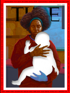 Titus Kaphar's painting features an African-American mother holding her child. FAD MAGAZINE