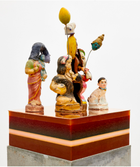 BHARTI KHER The players, 2019 175 × 29 × 29 cm | 68 7/8 × 11 7/16 × 11 7/16 inch Clay, cement, wax, copper/brass FAD MAGAZINE