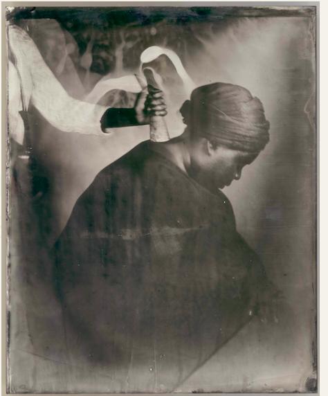 Nak Bejjen 2017, Wet plate collodion tintype on metal, 250 x 200 mm Image courtesy the Estate of Khadija Saye FAD MAGAZINE