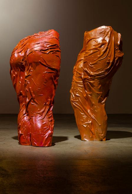 Jala Wahid Pink Legs : Anger and Euphoria, One and the Same, Jesmonite & mica, 89 x 42 x 32cm, 2019 Jala Wahid, Orange Legs : Exacting Revenge Like a Wayward Flame, Jesmonite & mica, 91 x 40 x 38cm, 2019 FAD MAGAZINE