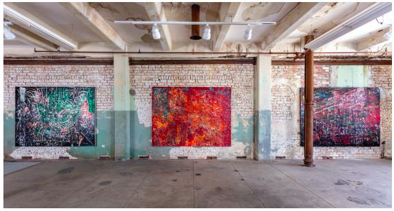 © Mark Bradford Courtesy the artist and Hauser & Wirth Photo: Joshua White / JWPictures Installation view, 'Mark Bradford. Quarantine Paintings', Hauser & Wirth Los Angeles, 2020 FAD magazine