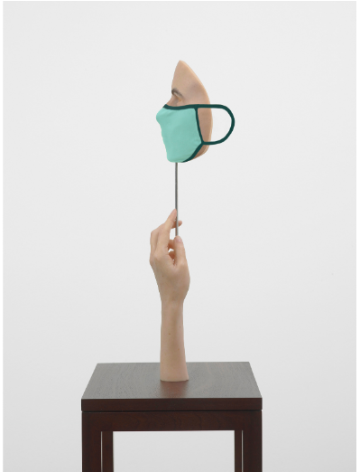 FAD magazine Gillian Wearing Mask Masked fabric mask, wax sculpture, steel rod and wooden plinth 56 x 14 x 10 cm 22 x 5 1/2 x 3 7/8 inches plinth: 92 x 38 x 28 cm 2020