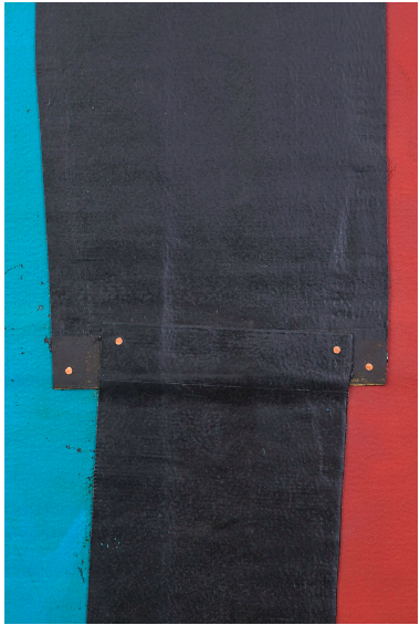 THEASTER GATES Flag Sketch, 2020, detail Industrial oil-based enamel, rubber torch down, bitumen, wood, and copper 72 x 72 in 182.9 x 182.9 cm © Theaster Gates Photo: Jacob Hand Courtesy Gagosian