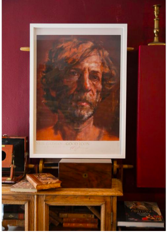 Lorna May Wadsworth's limited edition signed print Good Icon, a portrait of American Gods author Neil Gaiman