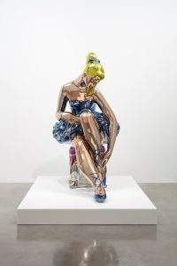 Jeff Koons (b. 1955)Seated Ballerinamirror-polished stainless steel with transparent colour coating210.8 x 113.5 x 199.8 cm© Jeff KoonsArtist's proofEdition of 32010–2015