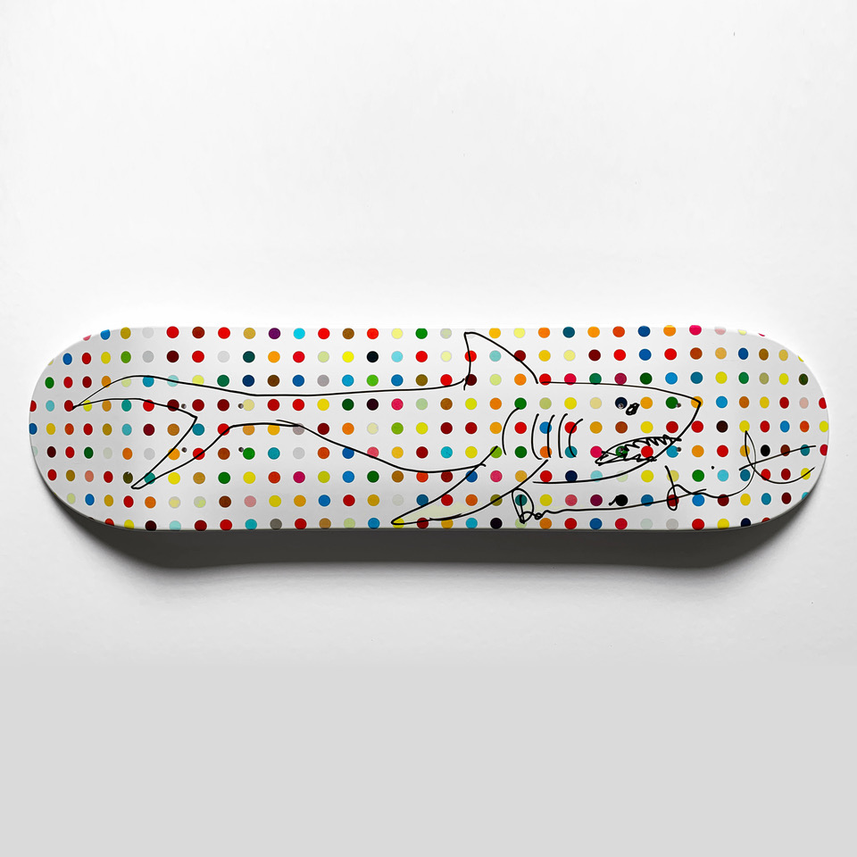 "Damien Hirst, Unique ""Shark"" Deck, Marker on Skate Deck, 81.9 × 38.1 cm. edition of 40"