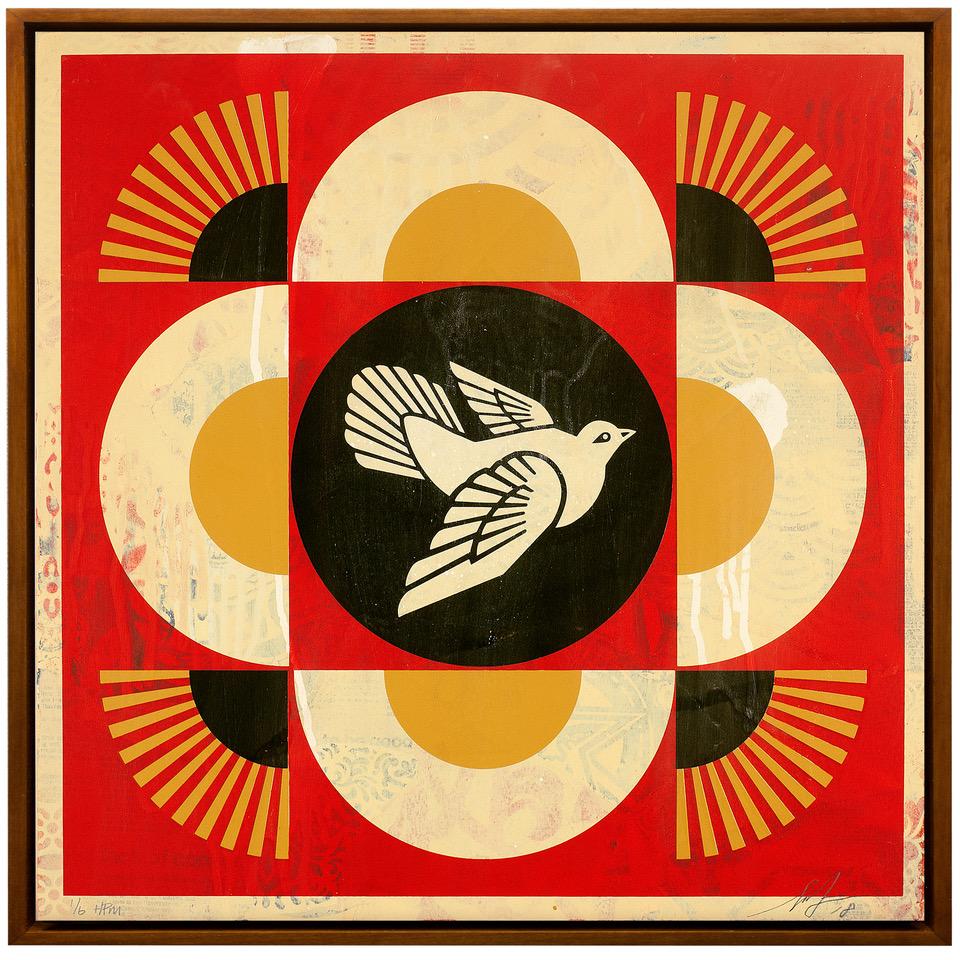 Shepard Fairey, Geometric Dove Red Wood HPM