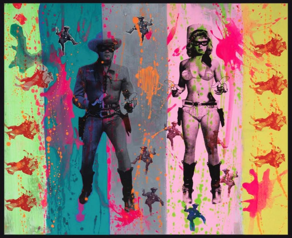 Stripey Lone Ranger and Candy Barr One off silk-screen print on hand painted canvas 110 x 110 x 3cm