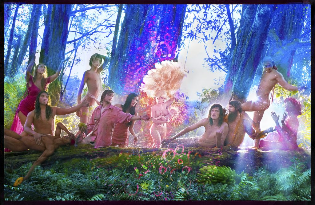 The First Supper, 2017 Impression pigmentaire, négatif peint à la main / hand-painted negative pigment-print, 160,7 x 242,5 cm © David LaChapelle. Courtesy Templon, Paris & Brussels