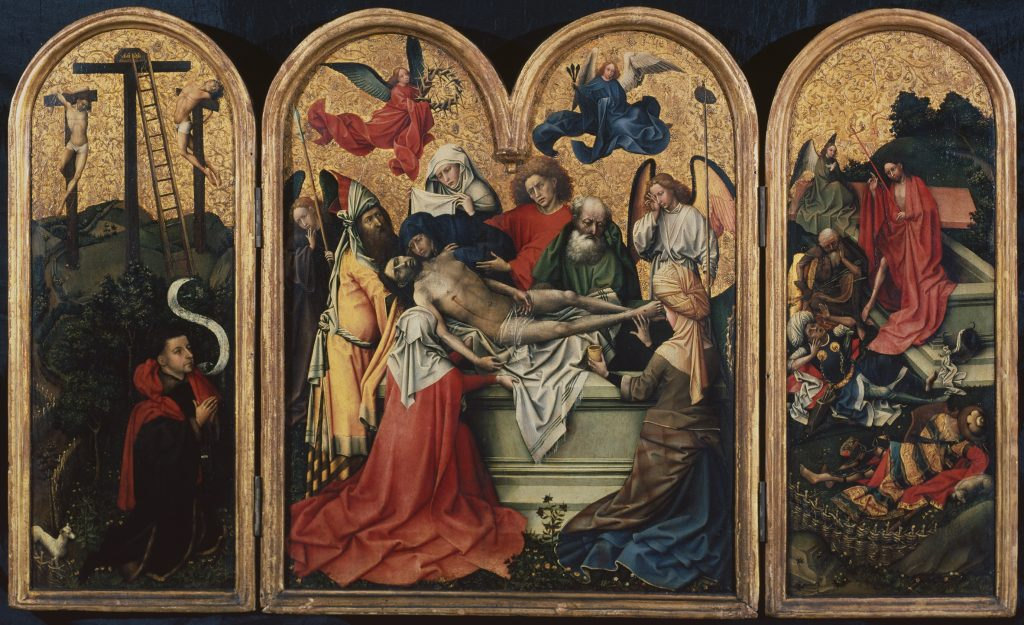 Master of Flemalle (Robert Campin?) (c.1375-1444) The Entombment Triptych  (central panel), c.1425 Oil and gold leaf on panel  Centre 65.2 x 53.6 cm Wings 64.9 x 26.8 cm