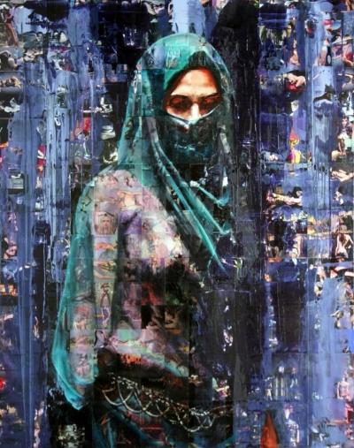 The Veil 2012 mixed media 150 x 190 cm £8500 FAD Interviews Iranian Artist: Afshin Naghouni