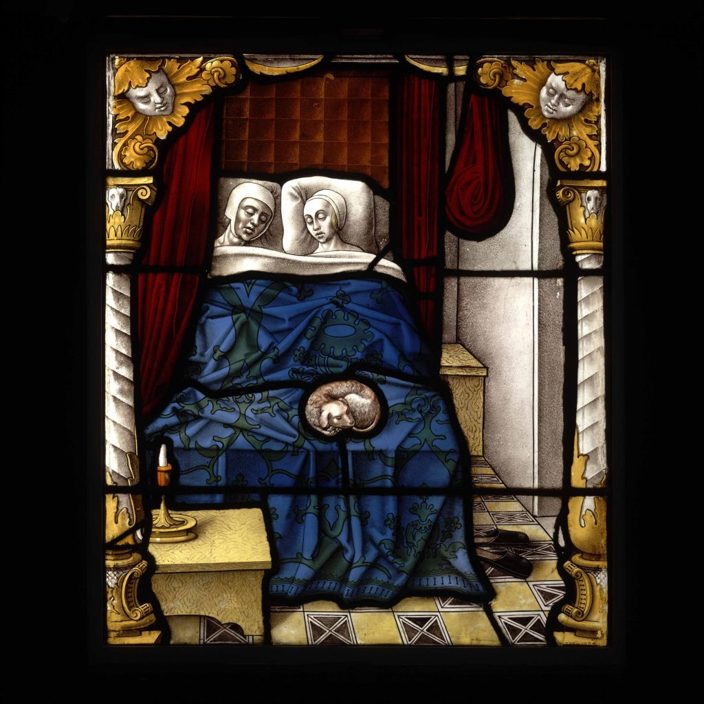 Tobias and Sara, about 1520, Cologne, Germany, glass with paint and silver stain, probably from the cloister of the abbey of St Apern © Victoria and Albert Museum, London