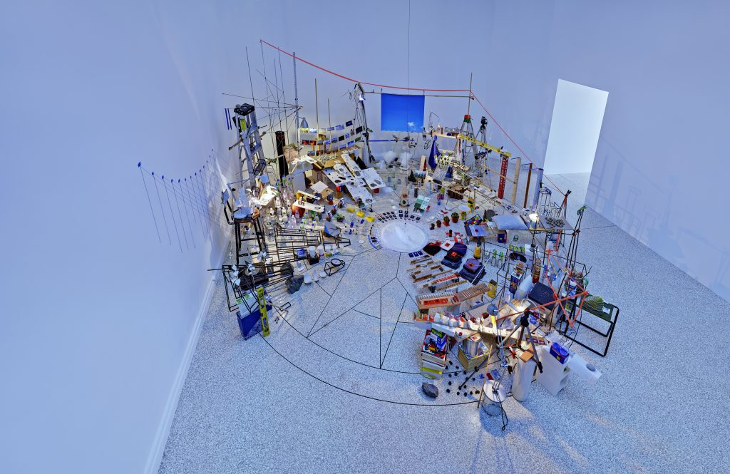 Sarah Sze, Triple Point (Pendulum), 2013 Salt, water, stone, string, projector, video, pendulum, mixed media Dimensions variable. © Sarah Sze © Photo Tom Powel Imaging