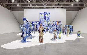 Installation view of Donna Huanca: OBSIDIAN LADDER. Courtesy the artist, Marciano Art Foundation, Los Angeles and Peres Projects, Berlin. Photo by Joshua White/JWPictures.com..